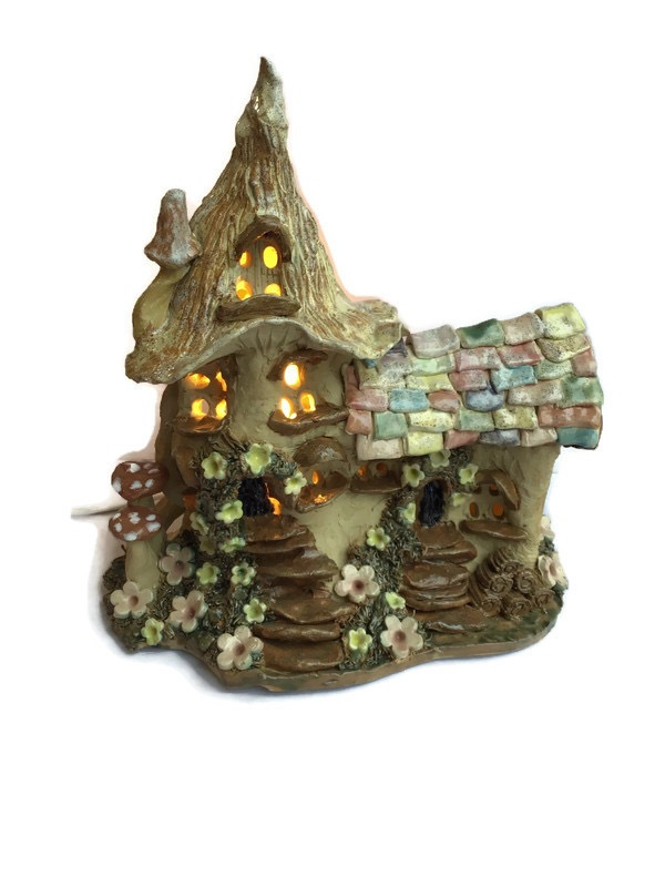 Large  tiled roof fairy house lamp
