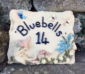 Medium size - square shape - sleeping pixie and bluebells