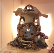4. Mushroom House Lamp with hobbit door