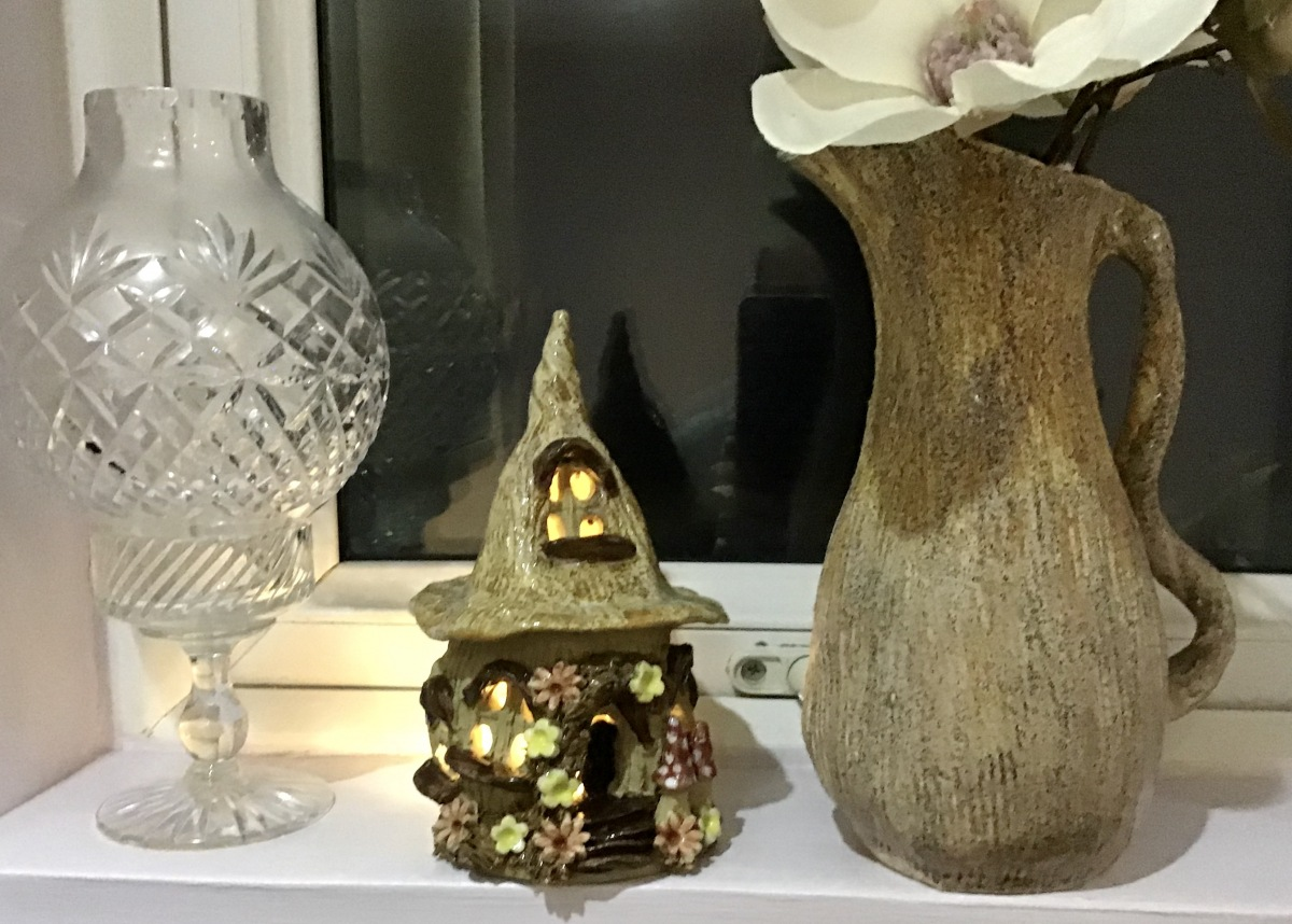 2 Fairy House - Tealight holder - pointed toadstool design