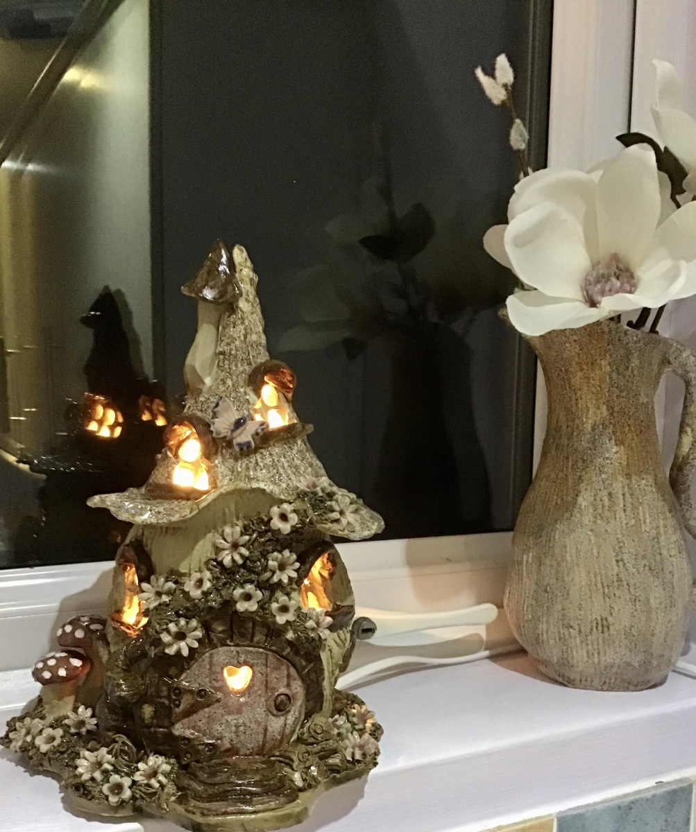 3. Fairy house lamp with hobbit door
