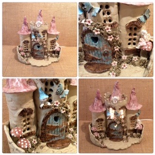 Fairy and butterfly castle lamp