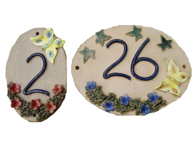Oval house number plaque - butterfly design